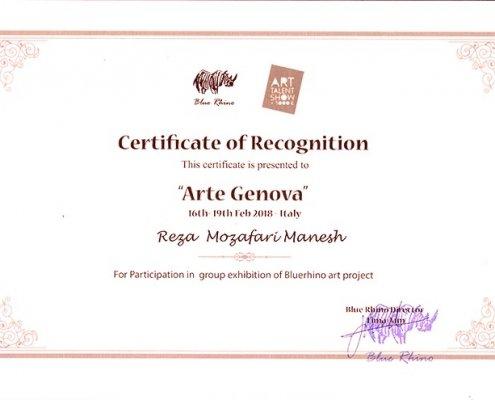 Certificate of Recognition Arte Genova (Reza Mozafarimanesh)