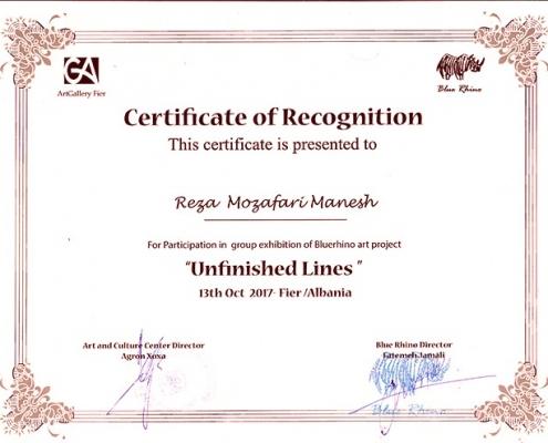 Certificate of Recognition (Reza Mozafarimanesh)